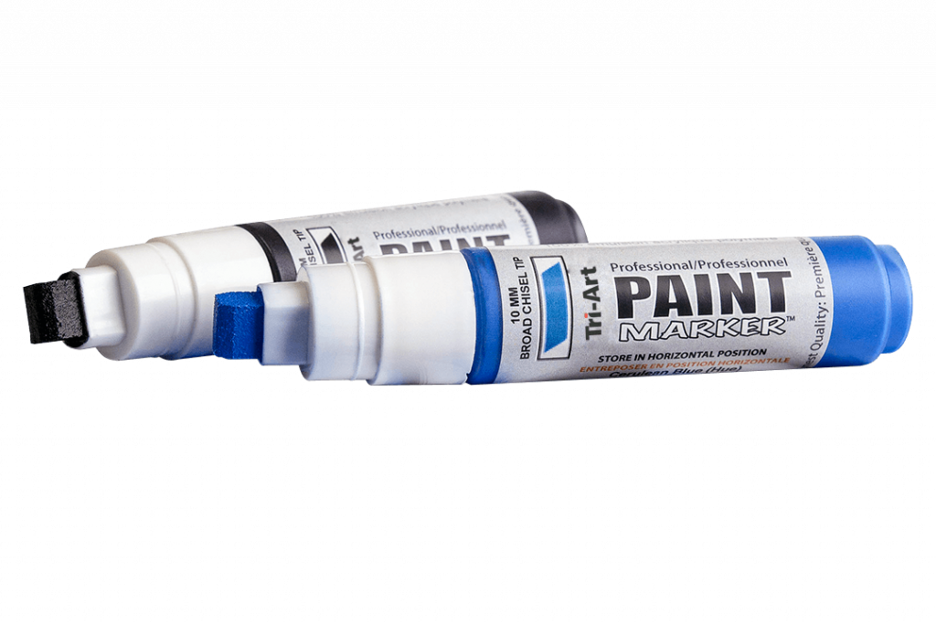 black and blue paint markers with primed nibs.