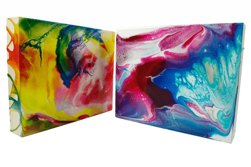 liquid glass pouring paintings on canvas