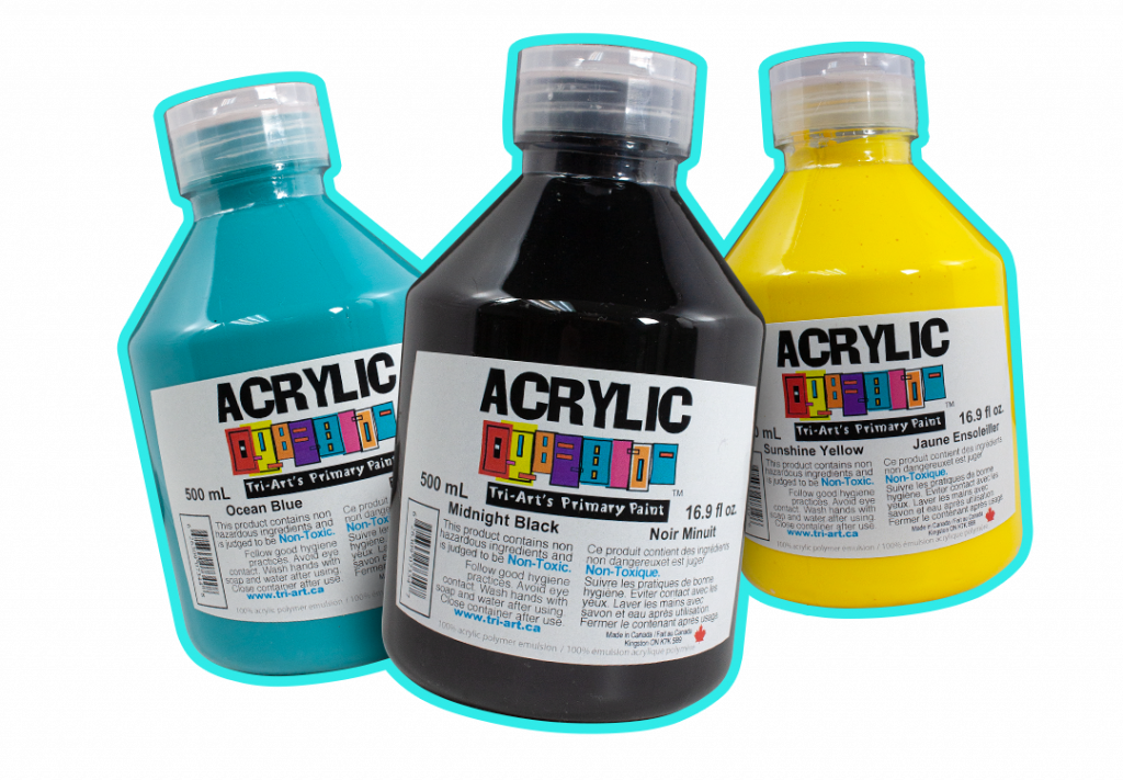 trio of primary liquid acrylic paints in cylinders