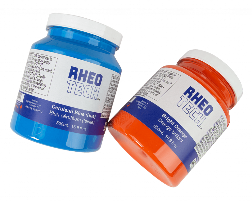 orange and blue rheotech acrylic paints in jars