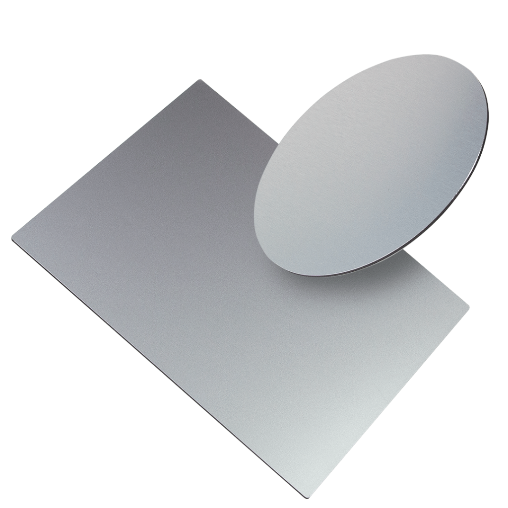 two sizes of alu panels one in a square shape the other a circle