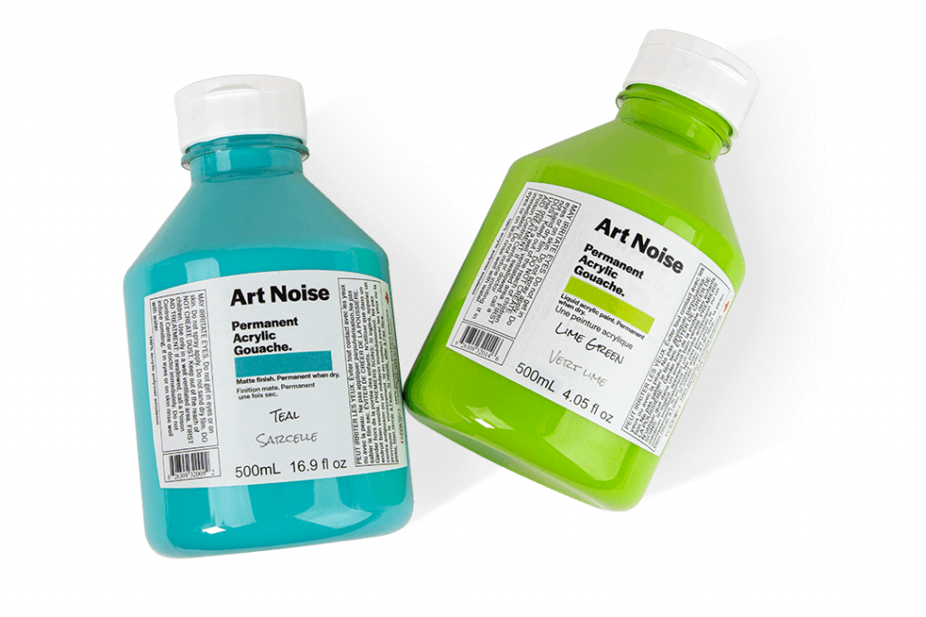 bottles of blue and green art noise acrylic paints