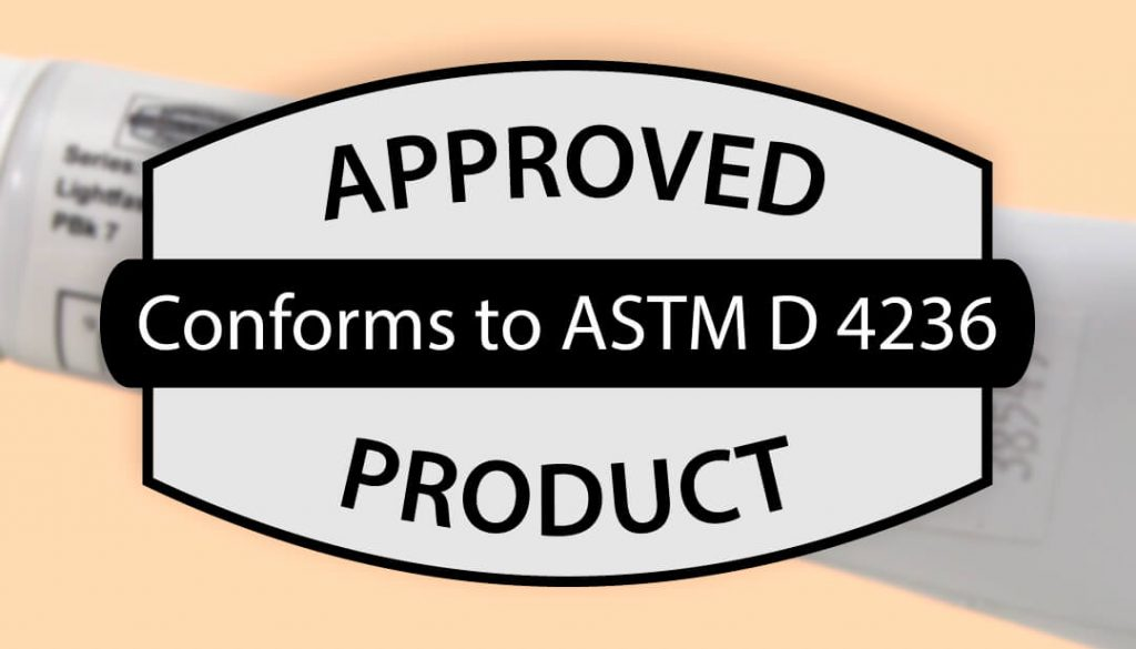 an example of the ASTM D 4236 logo that can be found on tri-art labels