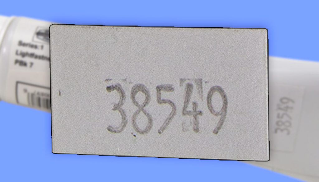 an example of a sticker that can be found on tri-art products showing it's batch number