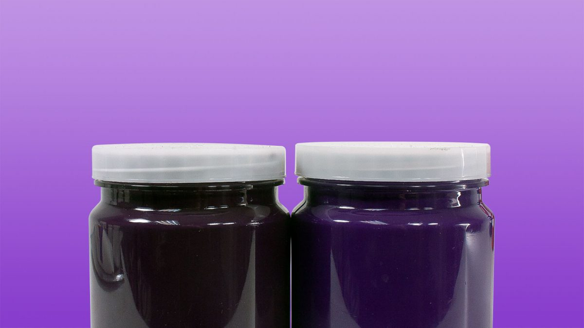 two purple paint jars side by side to show an improvement in mass tone