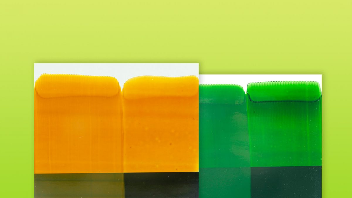 updated green and yellow swatches showing the improvements in new formulation