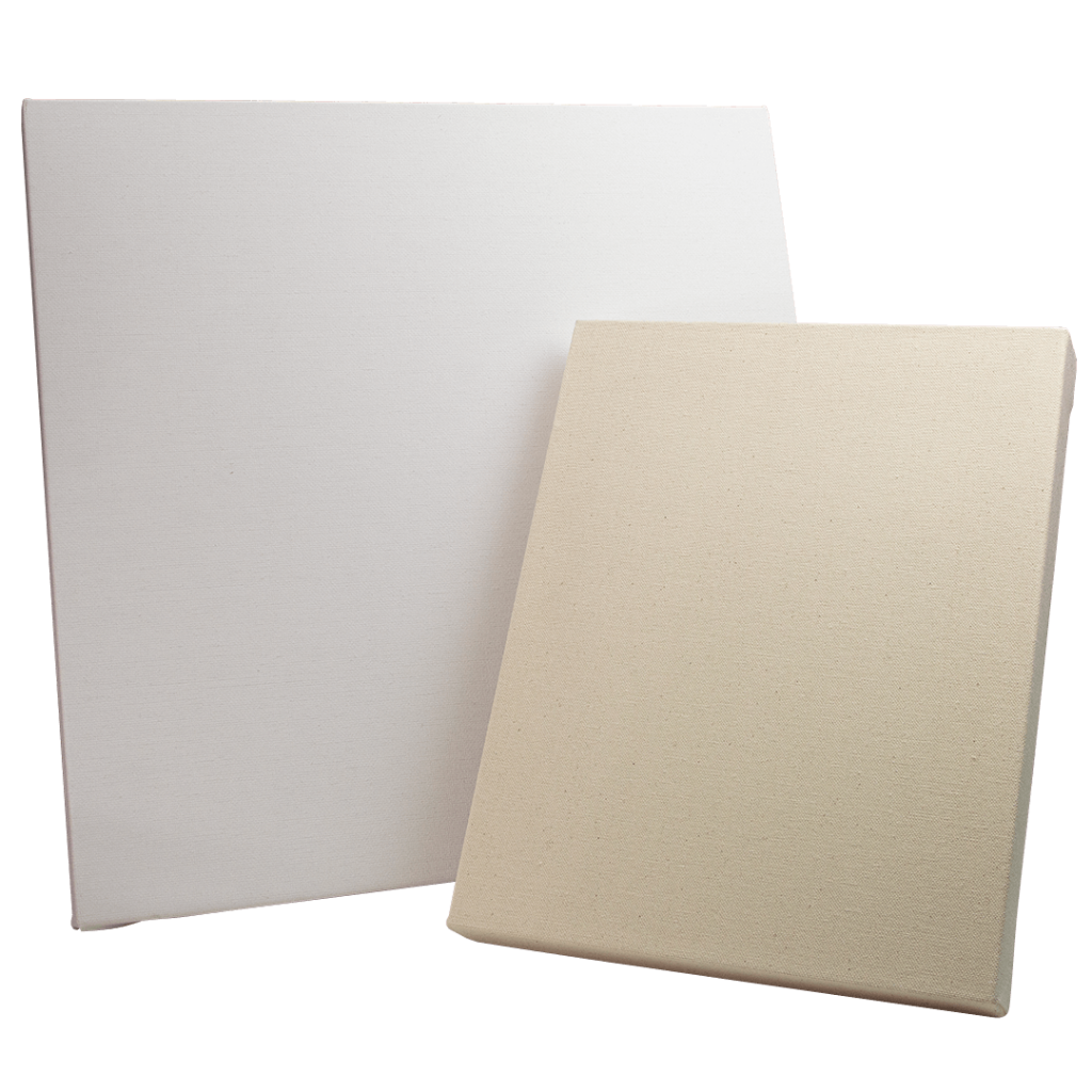 two sizes of stretched canvas, one primed with white gesso the other is unprimed