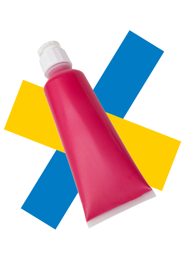a tube of red rheotech paint