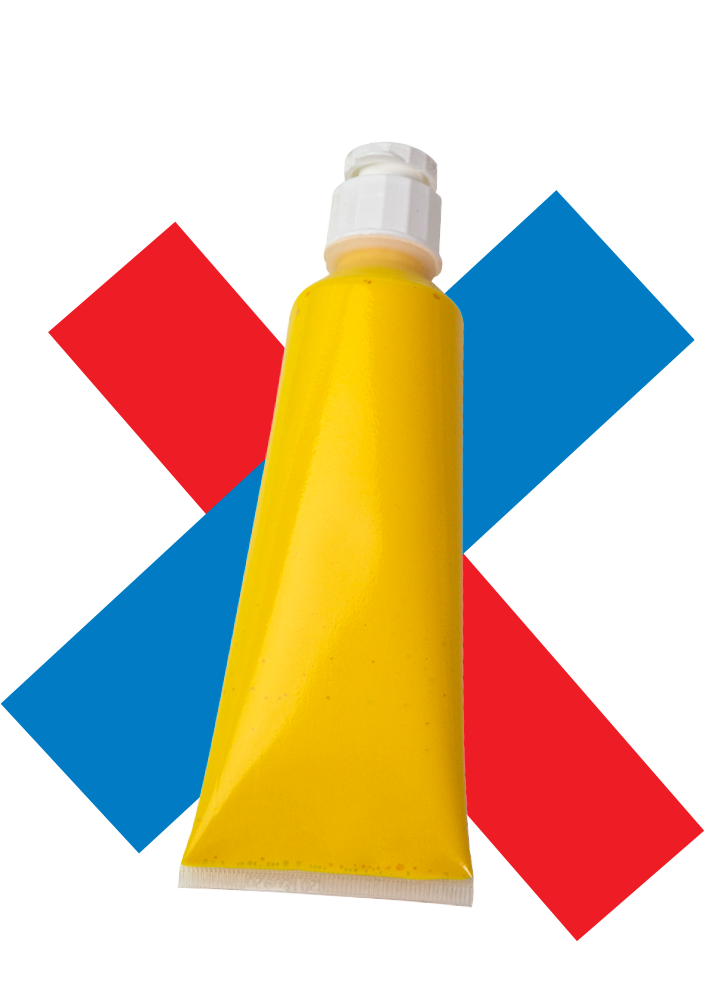 a tube of yellow rheotech paint