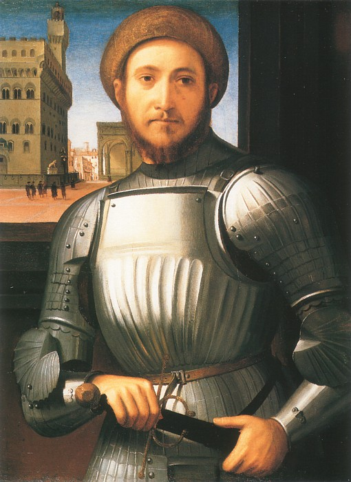 a painting, a portrait of a man in armor