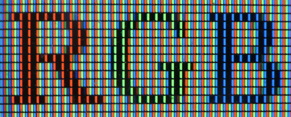 a macro example rgb pixels displaying different colours