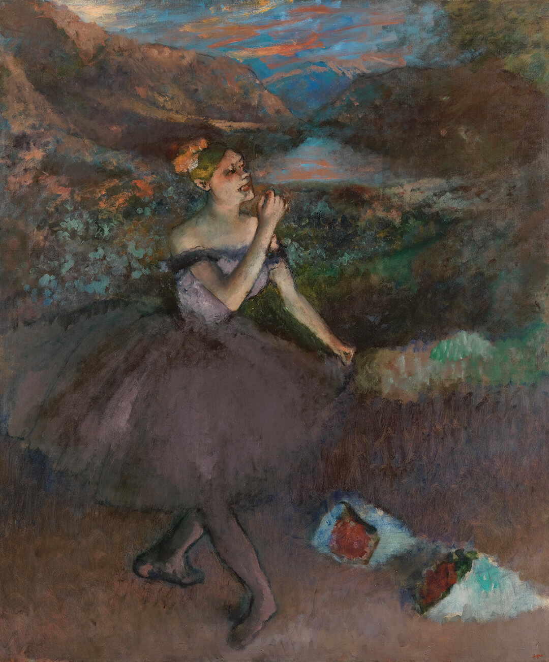 a painting, dances with bouquets by edgar degas