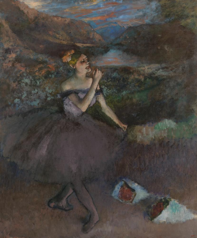 painting of ballerina on stage with bouquets at her feet, showing use of emerald green