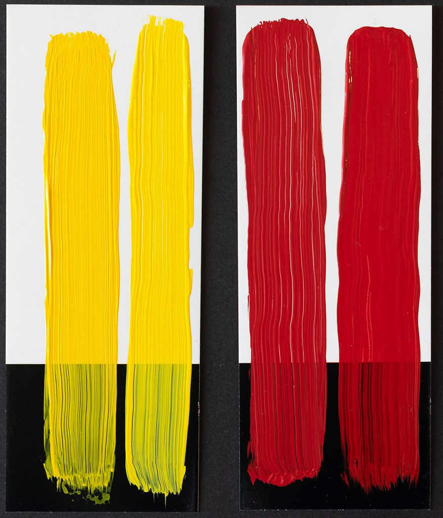 drawdown swatch of yellow and red