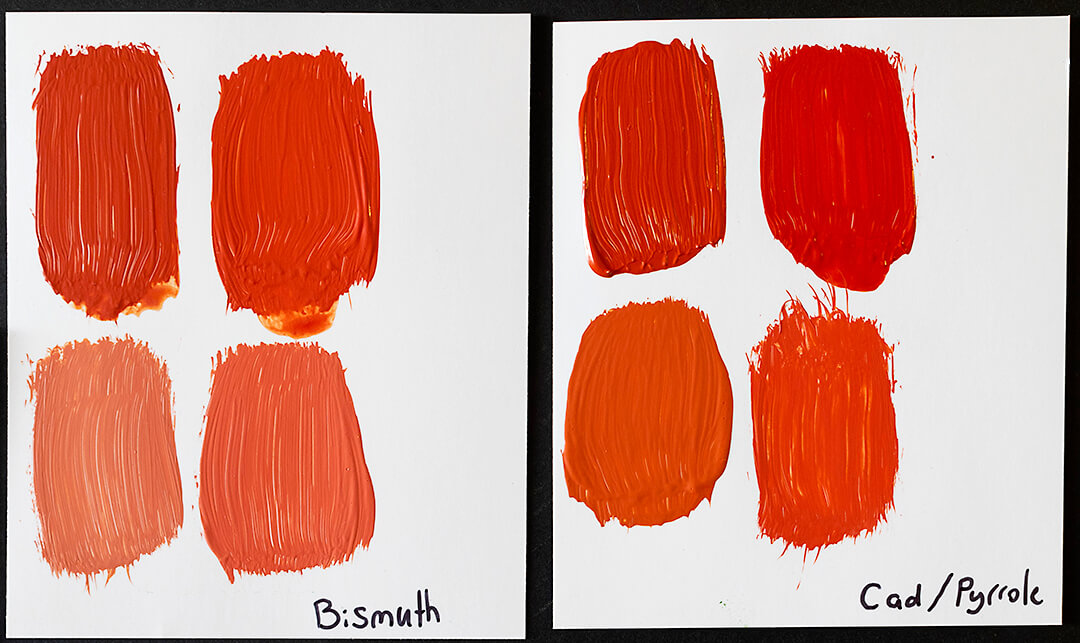 bismuth, cadmium, and pyrrole swatches on two cards