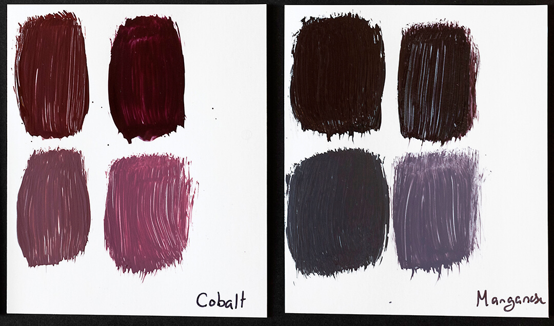 cobalt and magenta paint swatches