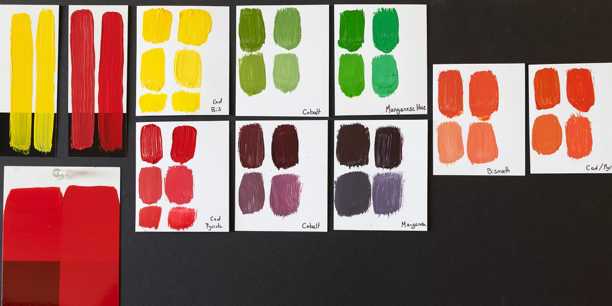 a board full of drawdown bismuth colour swatches