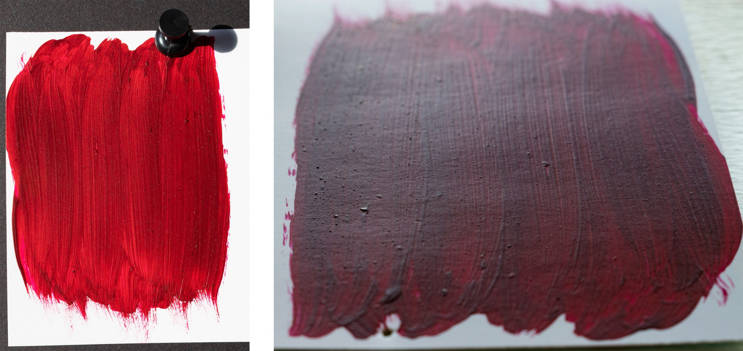 A sample of red paint, photographed in normal and raking light to showcase both the saturation of colour, but also the particles still apparent.