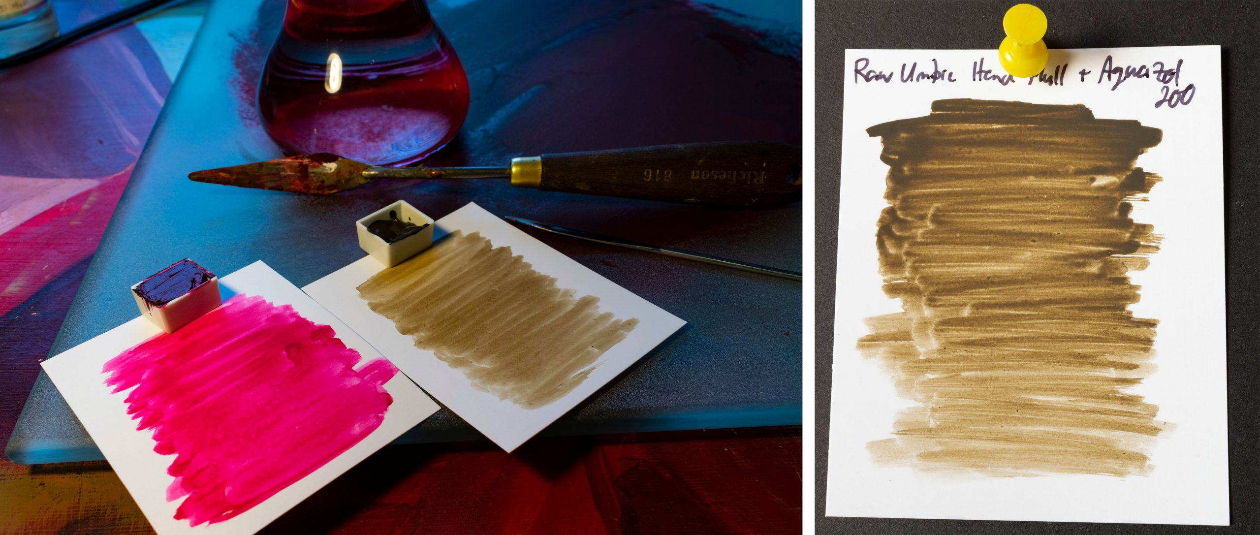 Final images of watercolours made by hand dispersion with glass muller. Two pans of red and brown and two paint outs.