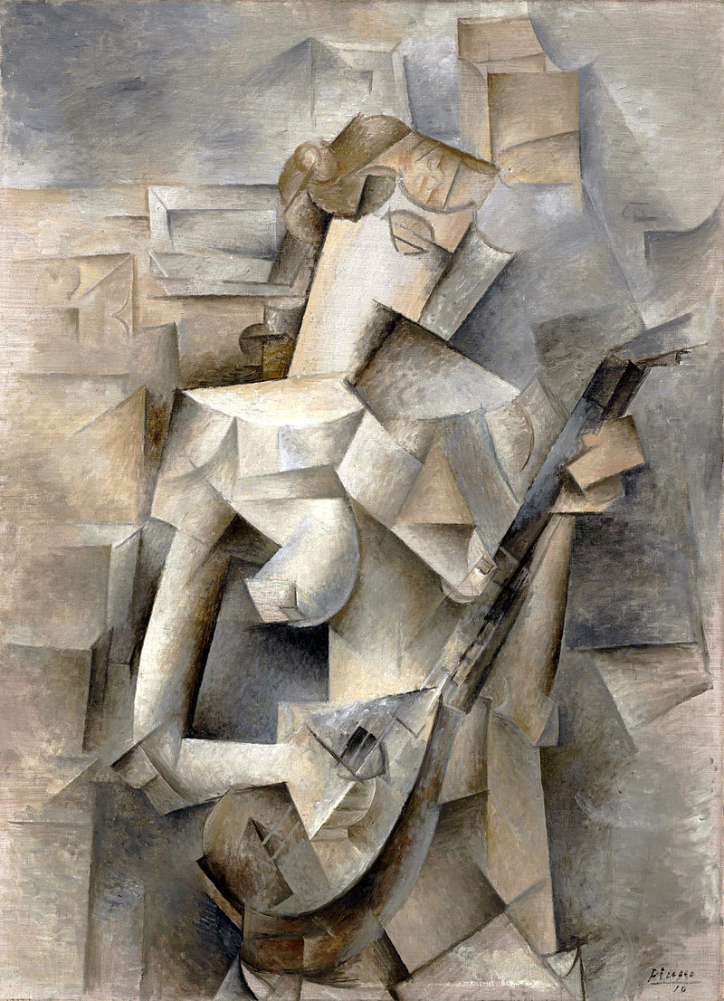 Picasso's girl with a mandolin, an example of early use of house paint in fine art painting