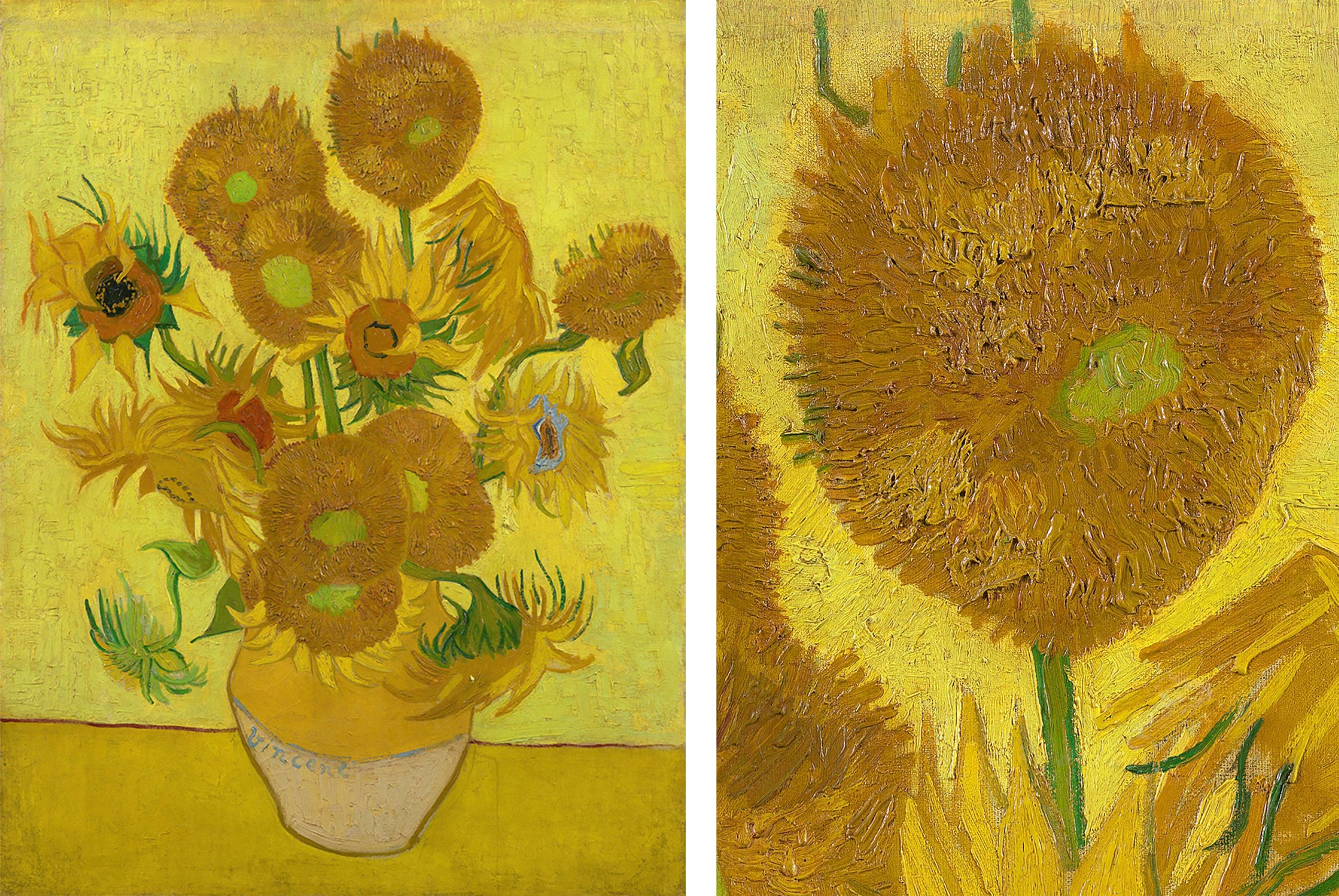 Van Gogh's 1889 Sunflowers and detail showing the thick brush strokes of paint.