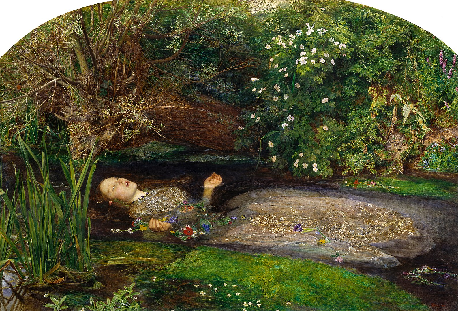 Ophelia, painted by John Everett Millais. A painting of a woman singing while she drowns in water.