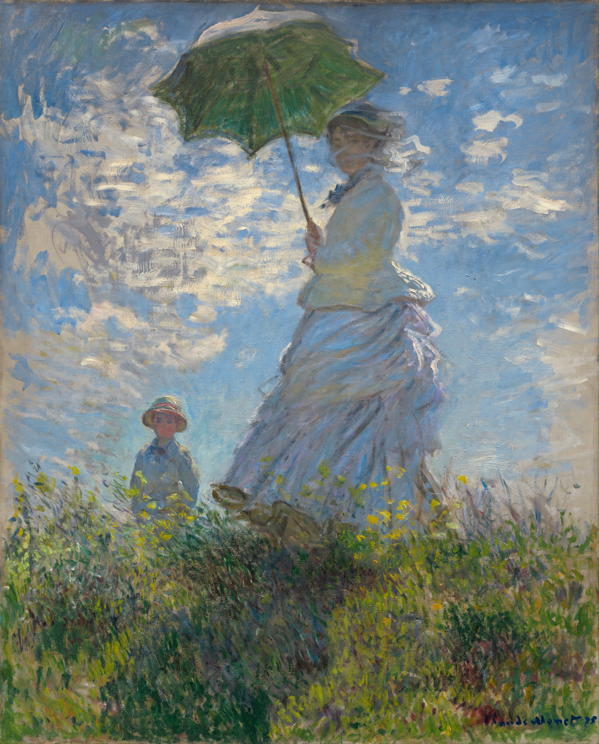 painting by Monet, woman with a parasol. She stands in a windy field with clouds.