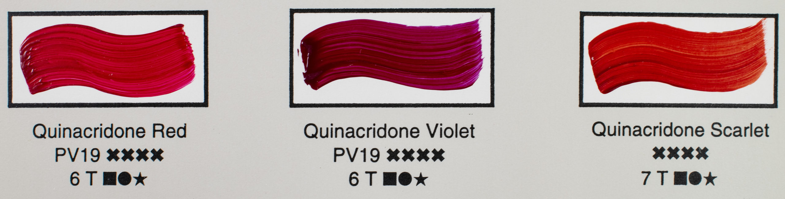 detail from 1998 colour chart, three hand painted quinacridone paint swatches
