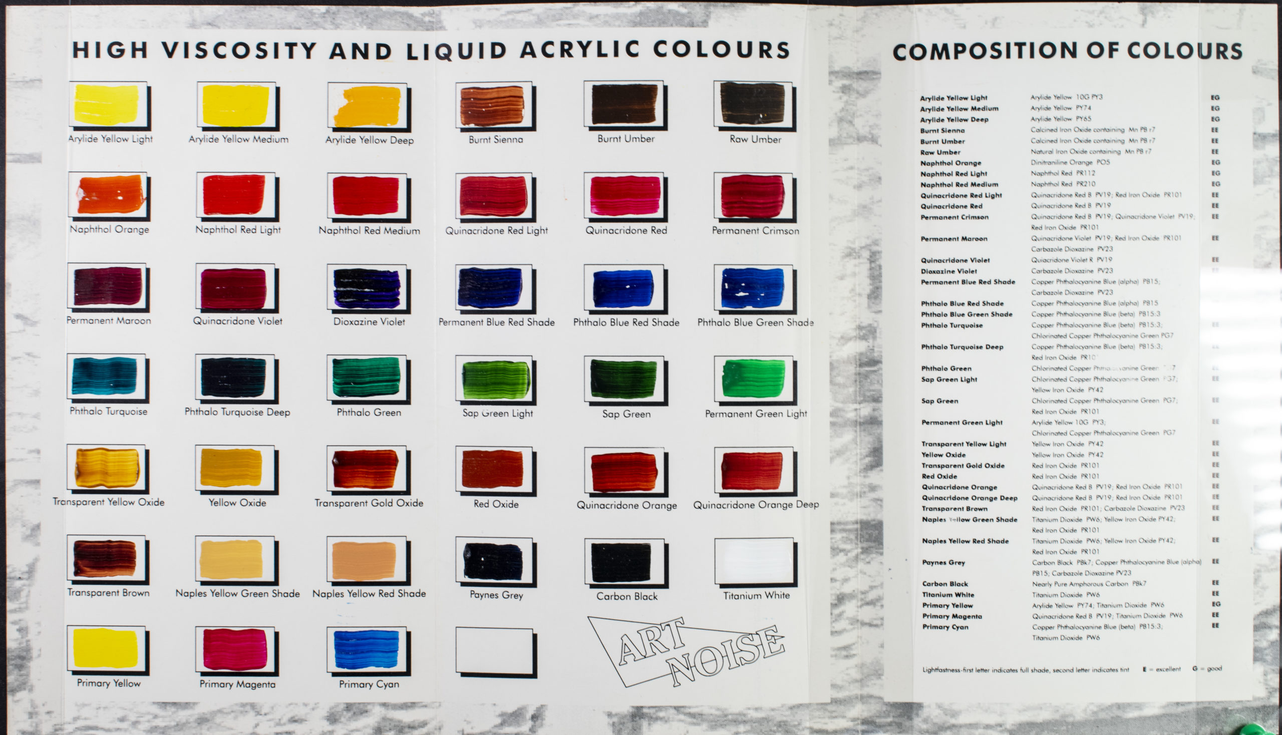 the original Tri-Art colour chart from 1994, hand paint swatches of acrylic paint