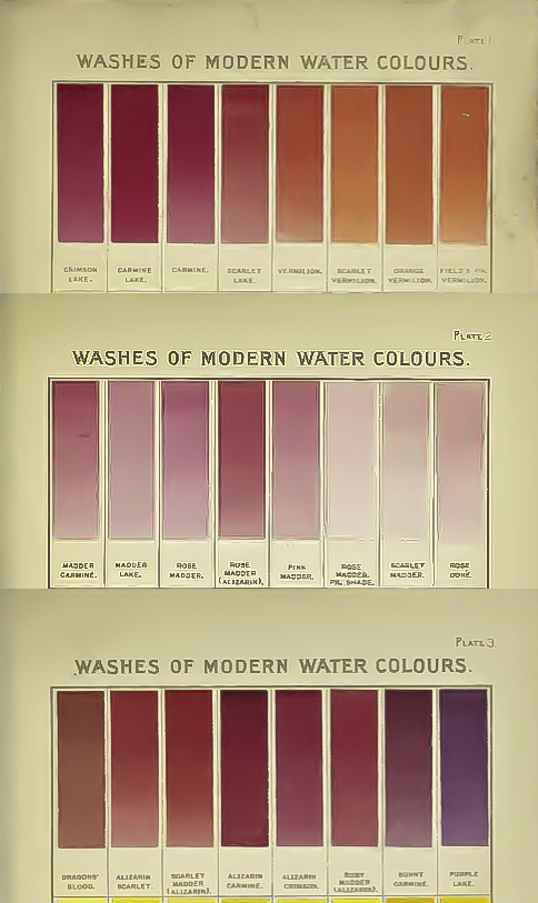 Winsor and Newton watercolour swatches from approximately 1910 showing the still heavy reliance on ephemeral natural pigments